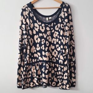 ANTHROPOLOGIE Moth Animal Print Peplum Sweater
